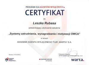 Certyfikat 2015 - Leszek Rubas
